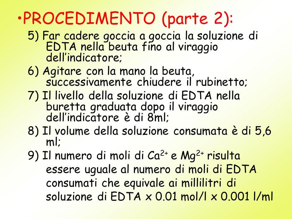 5) Far cadere goccia a goccia la soluzione di EDTA nella beuta fino al viraggio dellindicatore; 6) Agitare con la mano la beuta, successivamente chiud