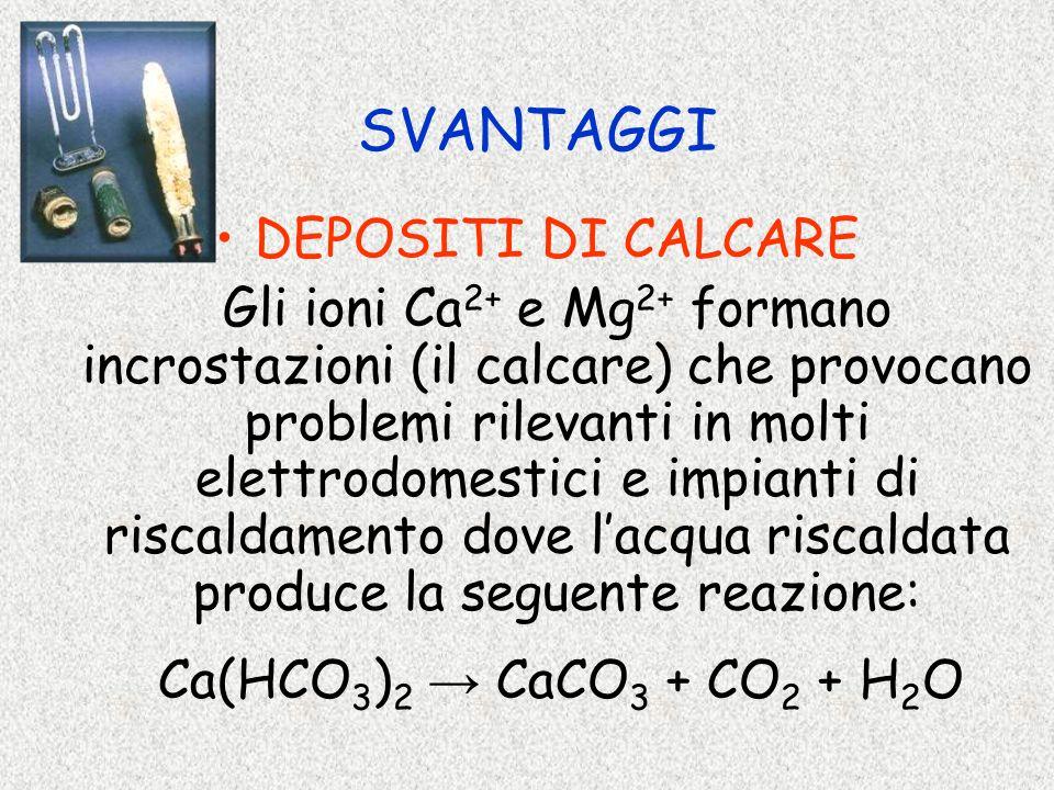 SVANTAGGI DEPOSITI DI CALCARE Gli ioni Ca 2+ e Mg 2+ formano incrostazioni (il calcare) che provocano problemi rilevanti in molti elettrodomestici e i