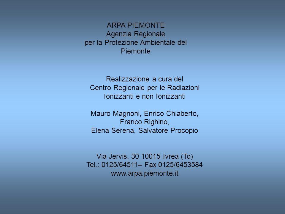 ARPA PIEMONTE Agenzia Regionale per la Protezione Ambientale del Piemonte Realizzazione a cura del Centro Regionale per le Radiazioni Ionizzanti e non