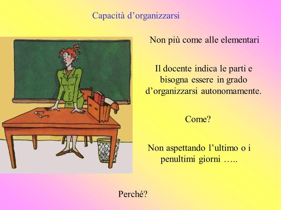 Capacità dorganizzarsi Non più come alle elementari Il docente indica le parti e bisogna essere in grado dorganizzarsi autonomamente.
