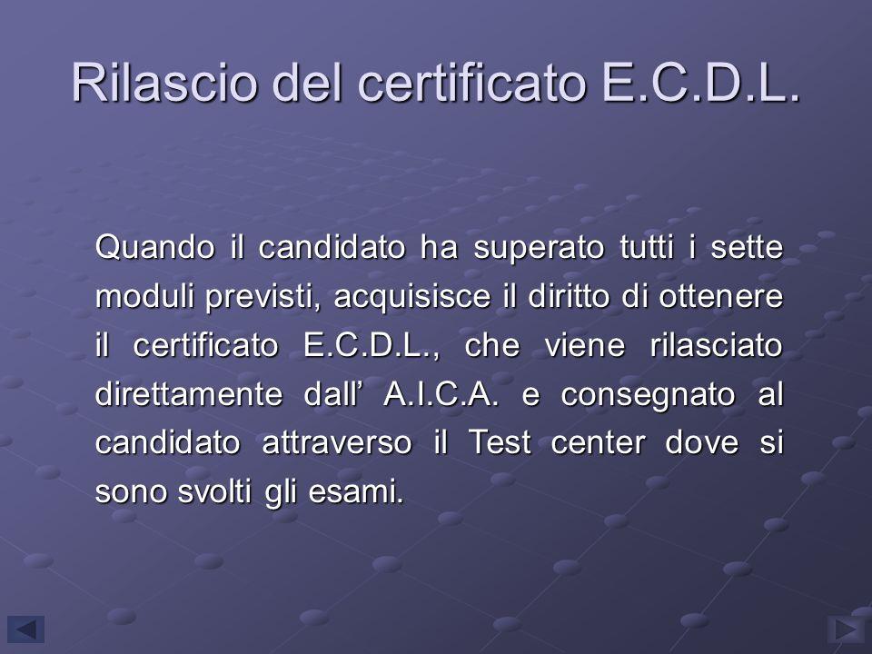 Rilascio del certificato E.C.D.L. Quando il candidato ha superato tutti i sette moduli previsti, acquisisce il diritto di ottenere il certificato E.C.