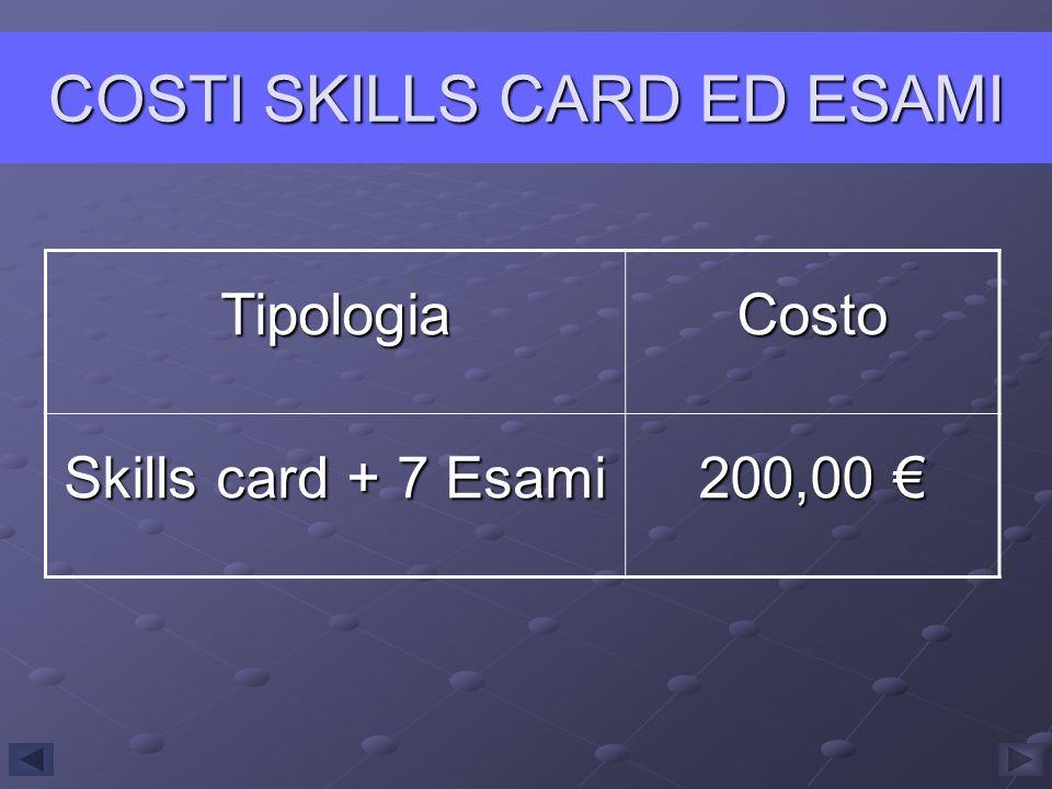 COSTI SKILLS CARD ED ESAMI TipologiaCosto Skills card + 7 Esami 200,00 200,00