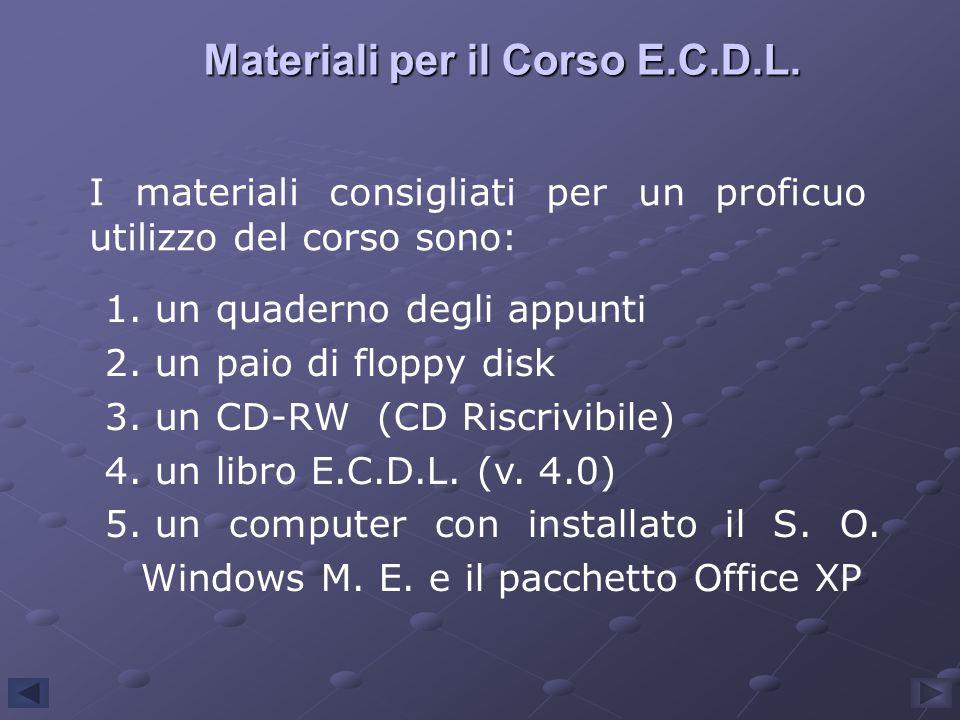 Materiali per il Corso E.C.D.L. I materiali consigliati per un proficuo utilizzo del corso sono: 1. un quaderno degli appunti 2. un paio di floppy dis