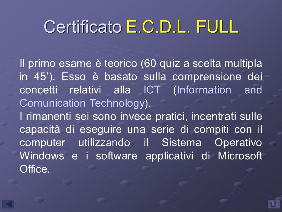 Certificato E.C.D.L. FULL Il primo esame è teorico (60 quiz a scelta multipla in 45). Esso è basato sulla comprensione dei concetti relativi alla ICT