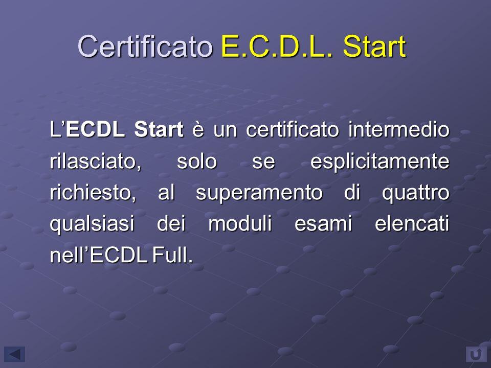 Certificato E.C.D.L. Start LECDL Start è un certificato intermedio rilasciato, solo se esplicitamente richiesto, al superamento di quattro qualsiasi d