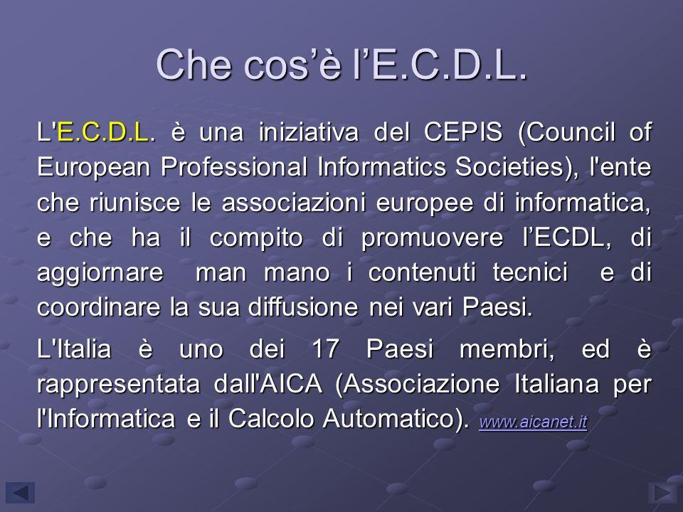 L'E.C.D.L. è una iniziativa del CEPIS (Council of European Professional Informatics Societies), l'ente che riunisce le associazioni europee di informa
