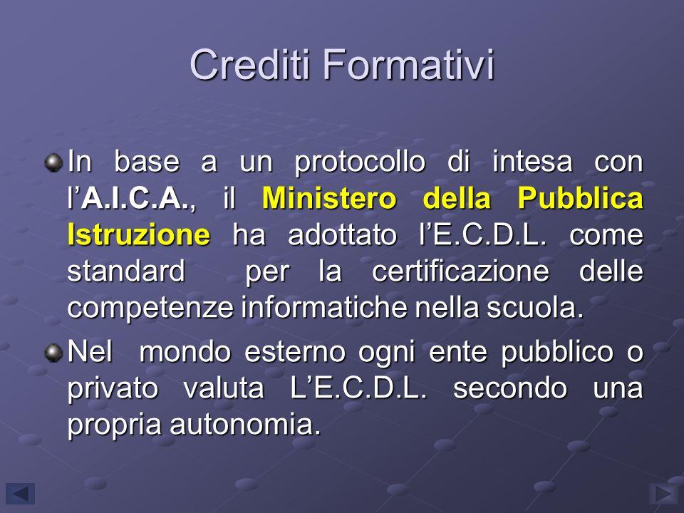 Crediti Formativi In base a un protocollo di intesa con lA.I.C.A., il Ministero della Pubblica Istruzione ha adottato lE.C.D.L. come standard per la c