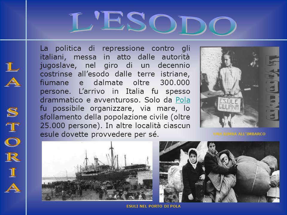 La politica di repressione contro gli italiani, messa in atto dalle autorità jugoslave, nel giro di un decennio costrinse allesodo dalle terre istrian