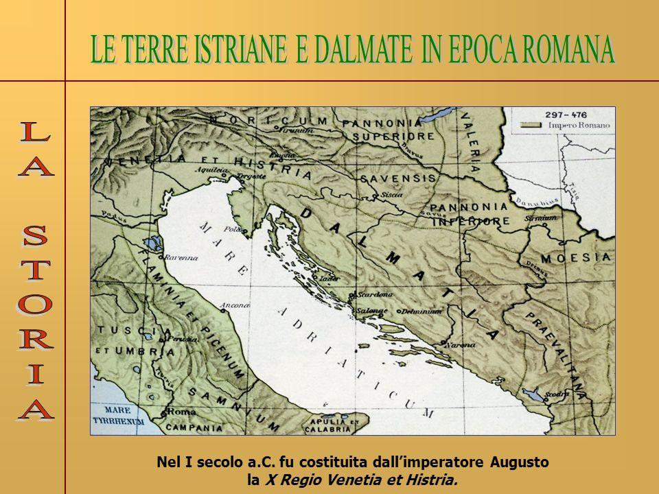 I territori istriani e dalmati, abitati originariamente da popolazioni illiriche, vennero sottoposti alla dominazione romana dal II secolo a.C..