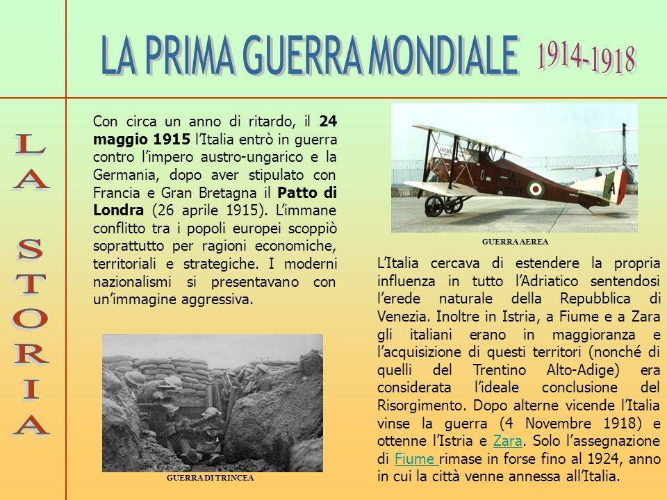 Con circa un anno di ritardo, il 24 maggio 1915 lItalia entrò in guerra contro limpero austro-ungarico e la Germania, dopo aver stipulato con Francia