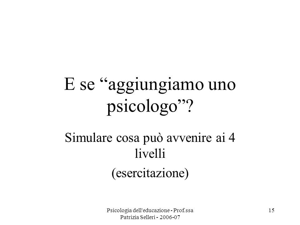 Psicologia dell'educazione - Prof.ssa Patrizia Selleri - 2006-07 15 E se aggiungiamo uno psicologo? Simulare cosa può avvenire ai 4 livelli (esercitaz