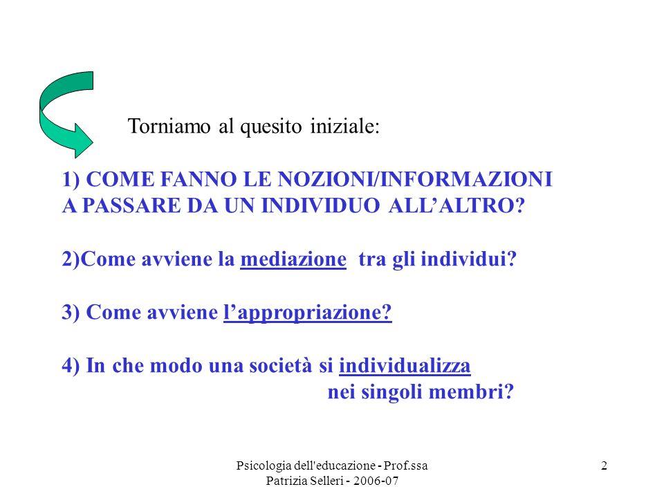 Psicologia dell'educazione - Prof.ssa Patrizia Selleri - 2006-07 2 Torniamo al quesito iniziale: 1) COME FANNO LE NOZIONI/INFORMAZIONI A PASSARE DA UN