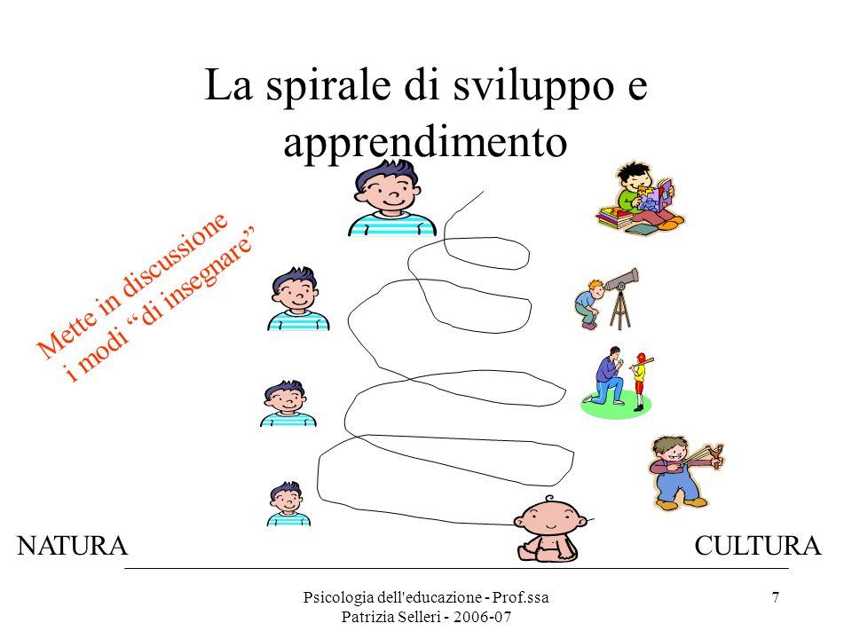 Psicologia dell'educazione - Prof.ssa Patrizia Selleri - 2006-07 7 La spirale di sviluppo e apprendimento Mette in discussione i modi di insegnare NAT