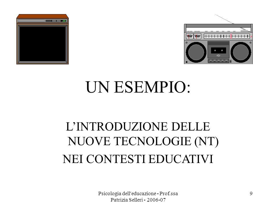 Psicologia dell'educazione - Prof.ssa Patrizia Selleri - 2006-07 9 UN ESEMPIO: LINTRODUZIONE DELLE NUOVE TECNOLOGIE (NT) NEI CONTESTI EDUCATIVI