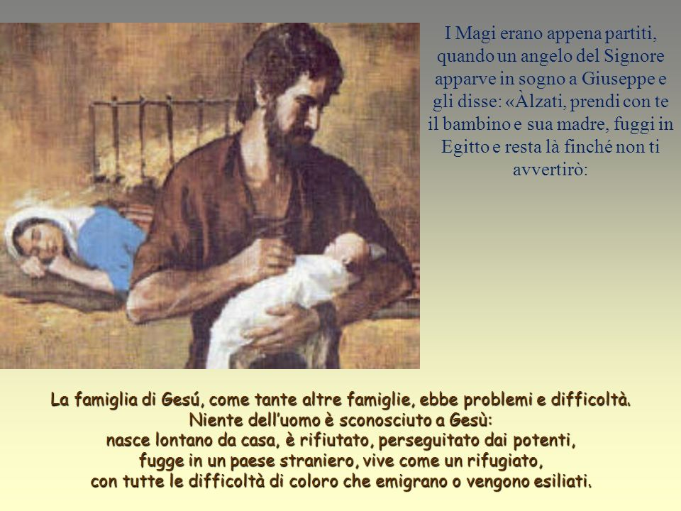 Testo: Matteo 2, 13-15.19-23. La Santa Famiglia. Gesú Maria Giuseppe.