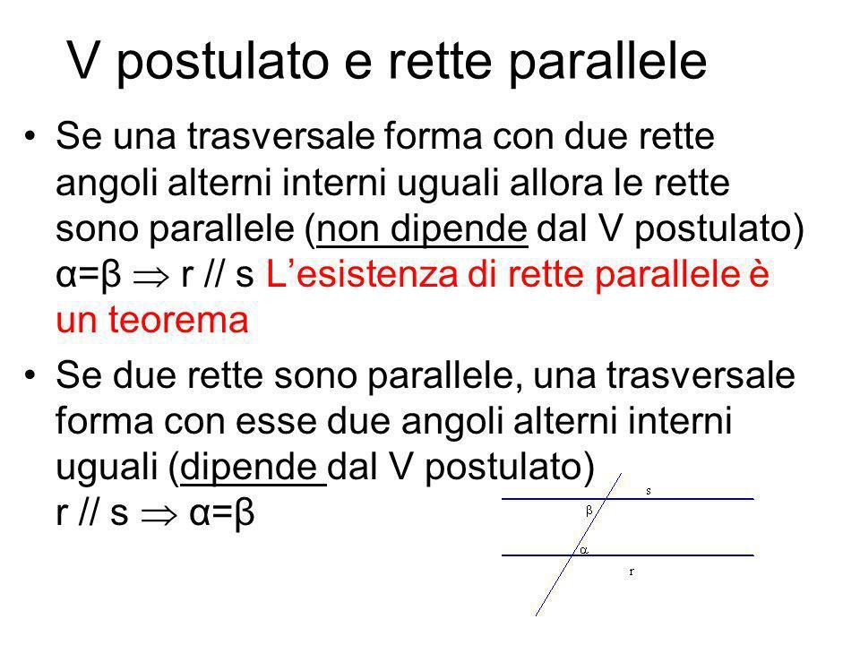 V postulato e rette parallele Se una trasversale forma con due rette angoli alterni interni uguali allora le rette sono parallele (non dipende dal V p