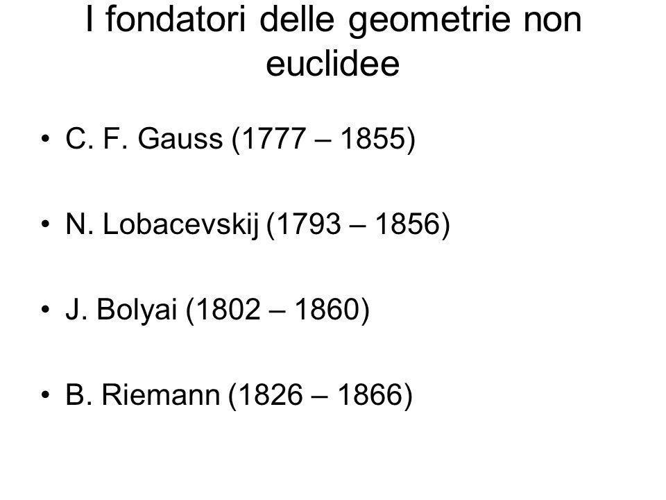 I fondatori delle geometrie non euclidee C. F. Gauss (1777 – 1855) N. Lobacevskij (1793 – 1856) J. Bolyai (1802 – 1860) B. Riemann (1826 – 1866)