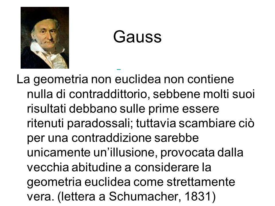 Gauss La geometria non euclidea non contiene nulla di contraddittorio, sebbene molti suoi risultati debbano sulle prime essere ritenuti paradossali; t