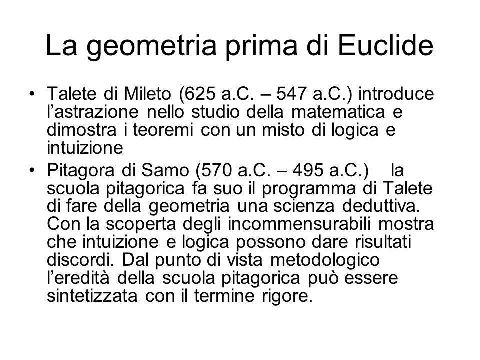 La geometria prima di Euclide Talete di Mileto (625 a.C. – 547 a.C.) introduce lastrazione nello studio della matematica e dimostra i teoremi con un m