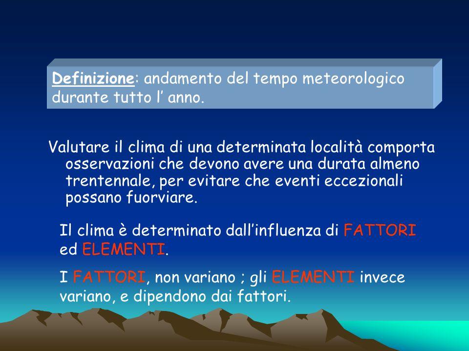 elementi Temperatura e precipitazioni sono gli elementi più importanti temperatura pressione venti umidità e precipitazioni VARIANO