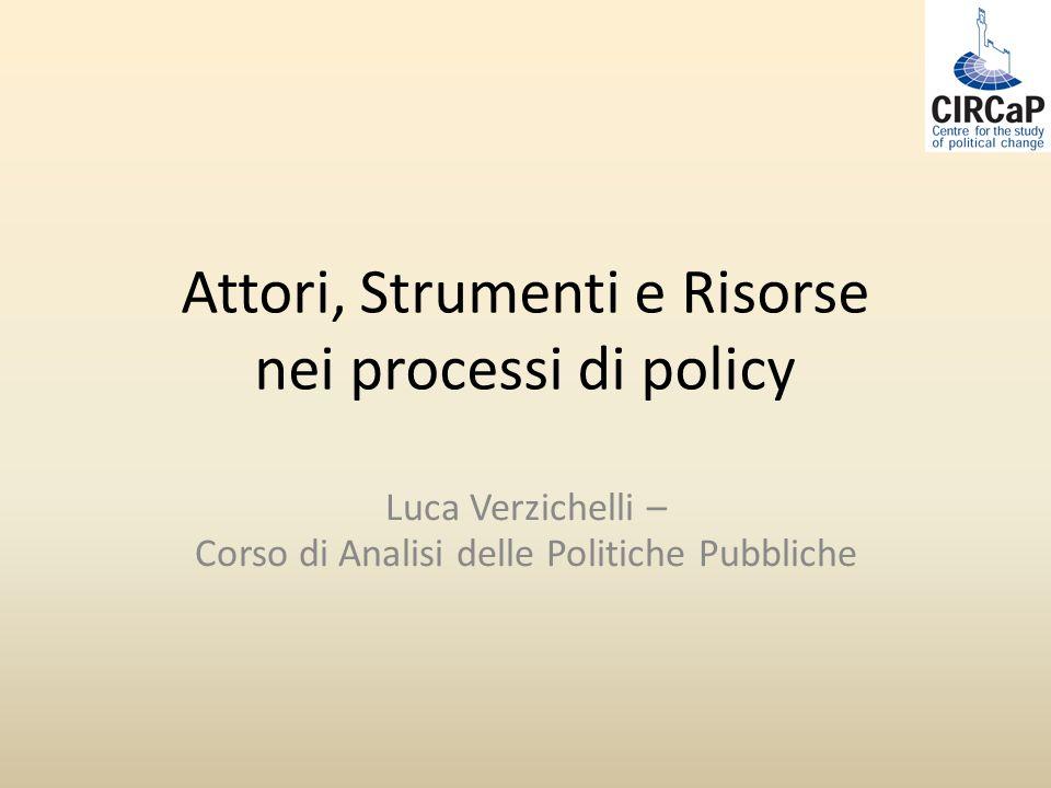 Attori, Strumenti e Risorse nei processi di policy Luca Verzichelli – Corso di Analisi delle Politiche Pubbliche