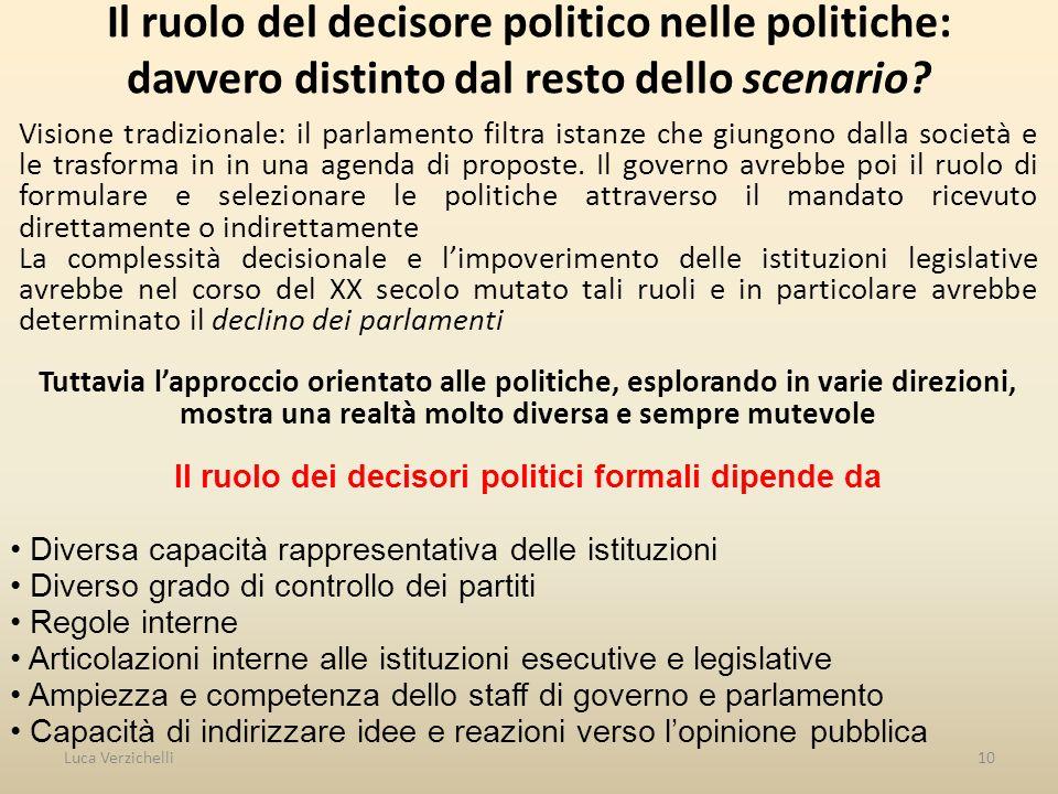 10 Il ruolo del decisore politico nelle politiche: davvero distinto dal resto dello scenario.