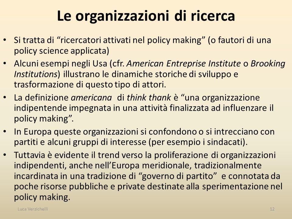 Luca Verzichelli12 Le organizzazioni di ricerca Si tratta di ricercatori attivati nel policy making (o fautori di una policy science applicata) Alcuni esempi negli Usa (cfr.
