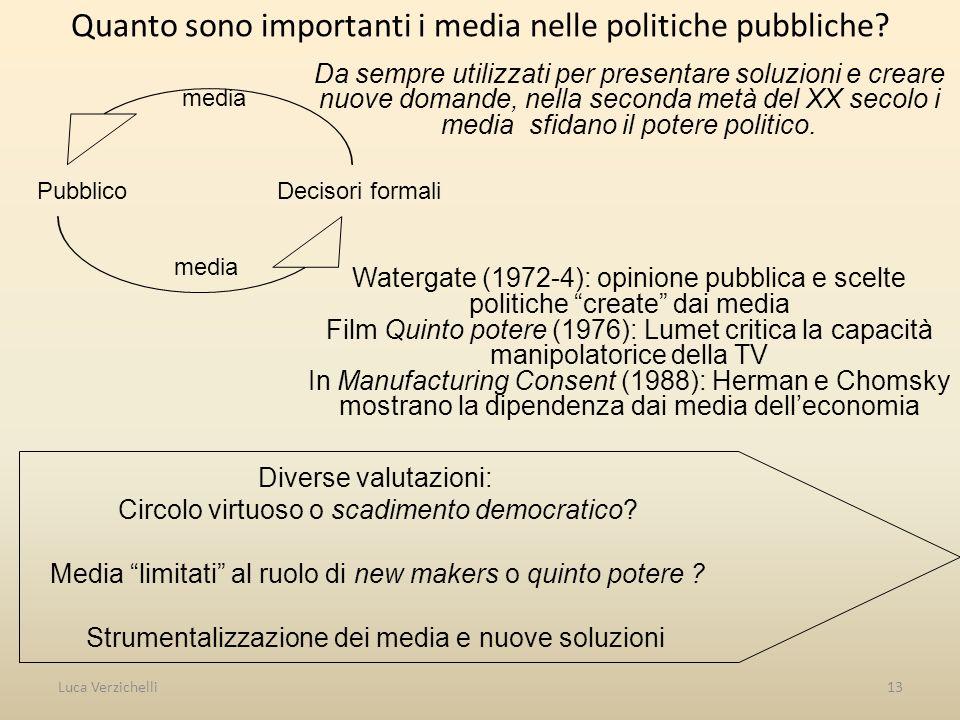 Luca Verzichelli13 Quanto sono importanti i media nelle politiche pubbliche.