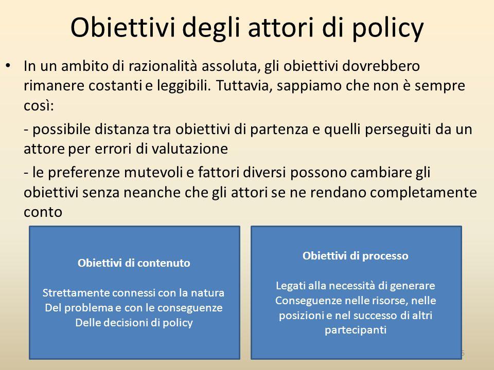Obiettivi degli attori di policy In un ambito di razionalità assoluta, gli obiettivi dovrebbero rimanere costanti e leggibili.
