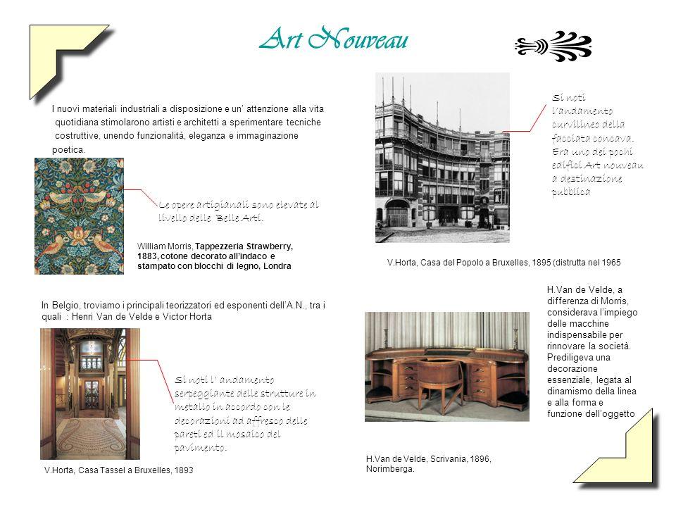 Art Nouveau I nuovi materiali industriali a disposizione e un attenzione alla vita quotidiana stimolarono artisti e architetti a sperimentare tecniche