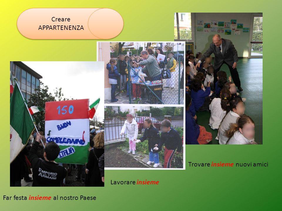 Creare APPARTENENZA Far festa insieme al nostro Paese Lavorare insieme Trovare insieme nuovi amici