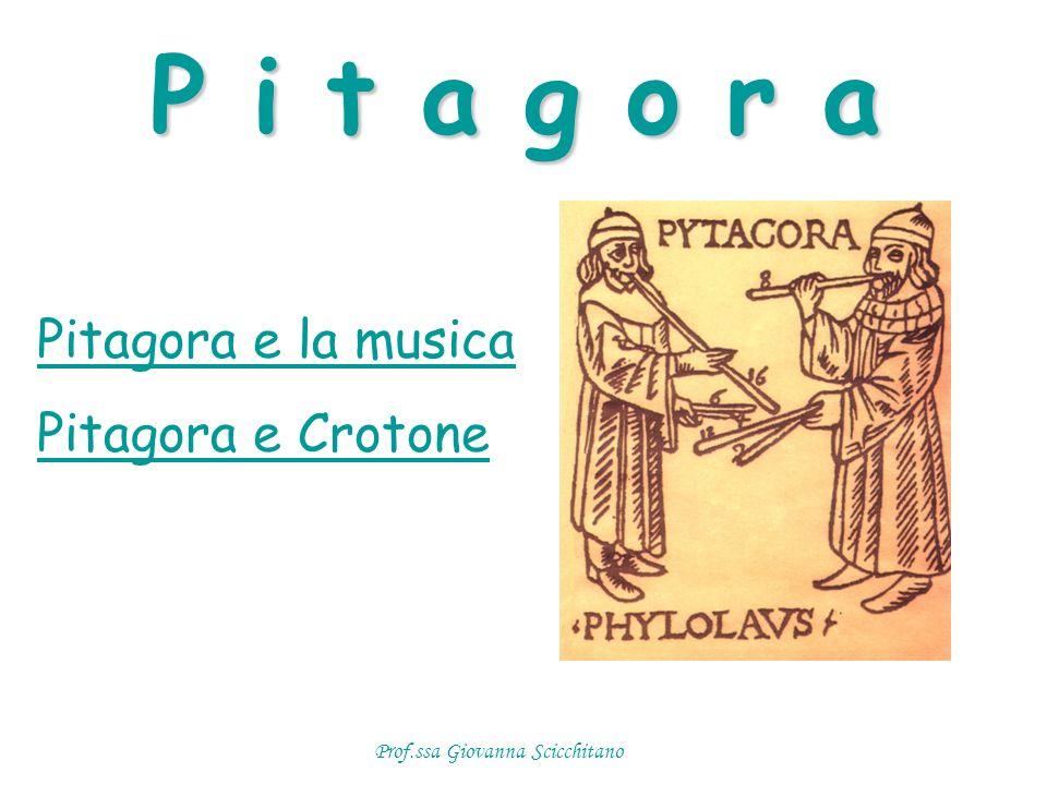 Pitagora e la musica Pitagora e Crotone P i t a g o r a Prof.ssa Giovanna Scicchitano