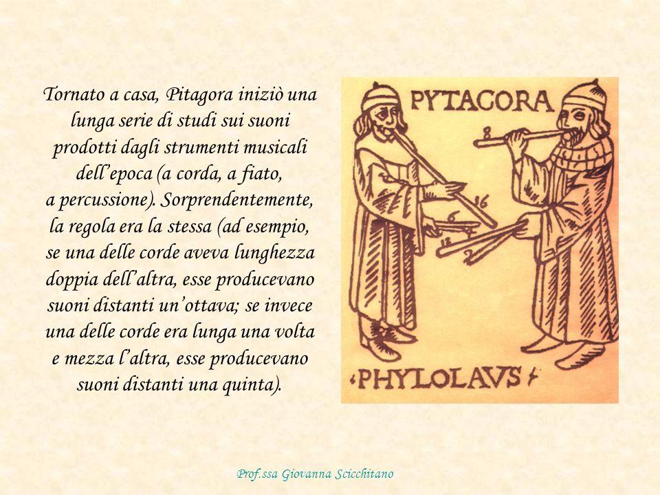 Tornato a casa, Pitagora iniziò una lunga serie di studi sui suoni prodotti dagli strumenti musicali dellepoca (a corda, a fiato, a percussione).