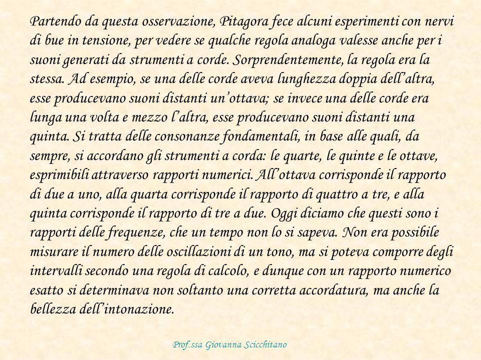 Partendo da questa osservazione, Pitagora fece alcuni esperimenti con nervi di bue in tensione, per vedere se qualche regola analoga valesse anche per i suoni generati da strumenti a corde.