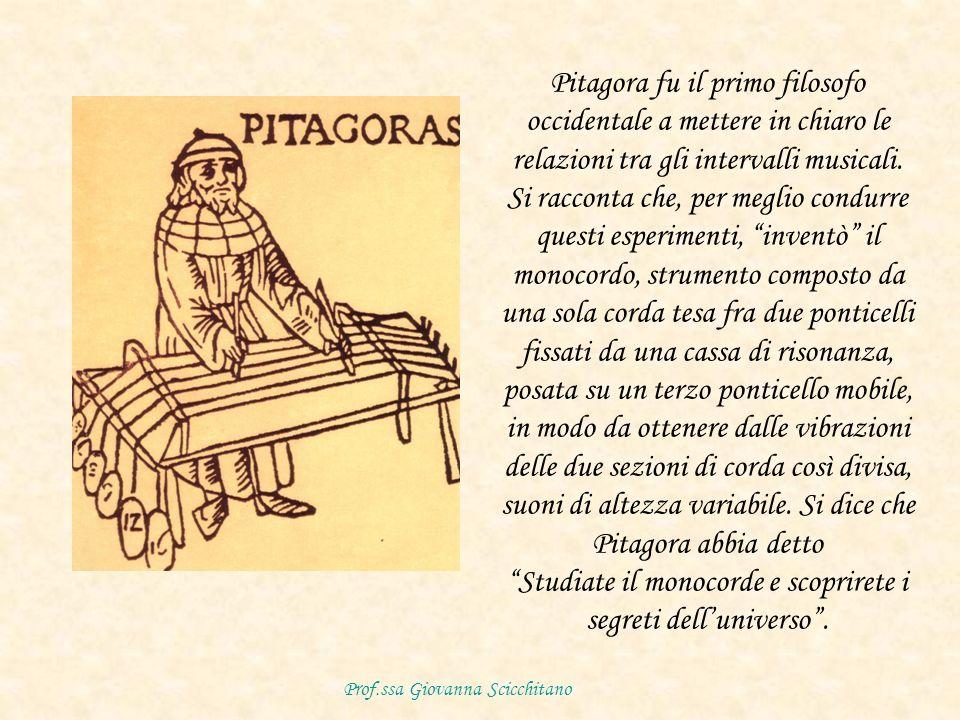 Pitagora fu il primo filosofo occidentale a mettere in chiaro le relazioni tra gli intervalli musicali.