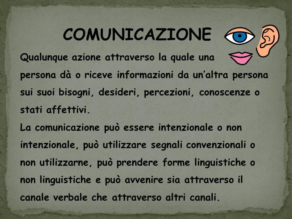 Qualunque azione attraverso la quale una persona dà o riceve informazioni da unaltra persona sui suoi bisogni, desideri, percezioni, conoscenze o stat