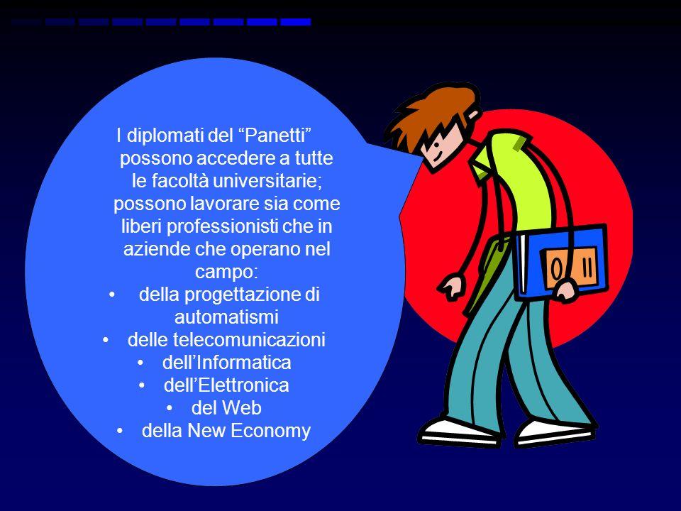 I diplomati del Panetti possono accedere a tutte le facoltà universitarie; possono lavorare sia come liberi professionisti che in aziende che operano nel campo: della progettazione di automatismi delle telecomunicazioni dellInformatica dellElettronica del Web della New Economy