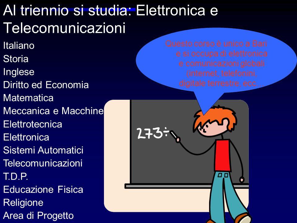 Al triennio si studia: Elettronica e Telecomunicazioni Italiano Storia Inglese Diritto ed Economia Matematica Meccanica e Macchine Elettrotecnica Elettronica Sistemi Automatici Telecomunicazioni T.D.P.