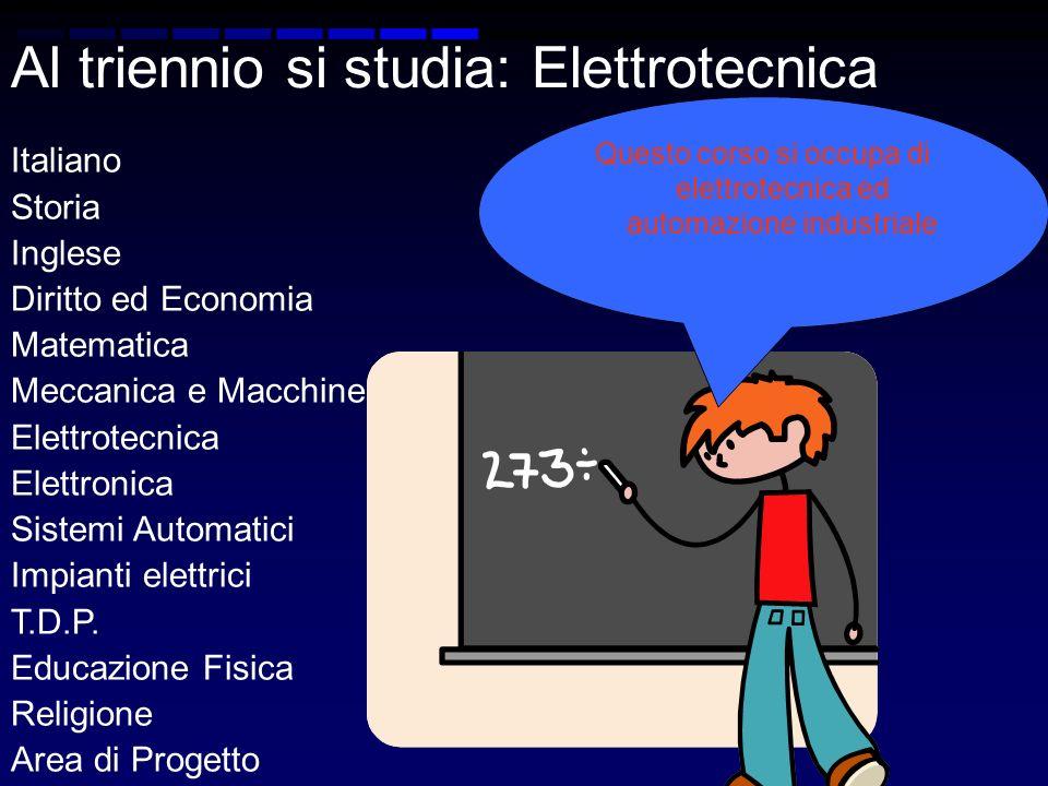 Al triennio si studia: Elettrotecnica Italiano Storia Inglese Diritto ed Economia Matematica Meccanica e Macchine Elettrotecnica Elettronica Sistemi Automatici Impianti elettrici T.D.P.