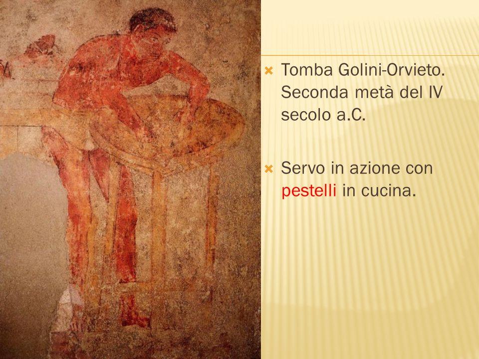 Tomba Golini-Orvieto. Seconda metà del IV secolo a.C. Servo in azione con pestelli in cucina.