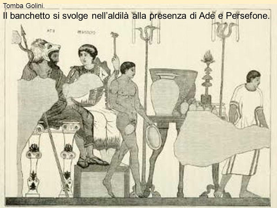 Tomba Golini. Il banchetto si svolge nellaldilà alla presenza di Ade e Persefone.
