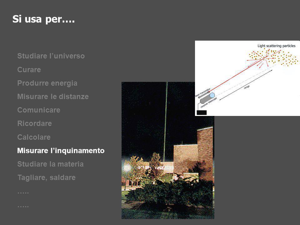 Studiare luniverso Curare Produrre energia Misurare le distanze Comunicare Ricordare Calcolare Misurare linquinamento Studiare la materia Tagliare, sa
