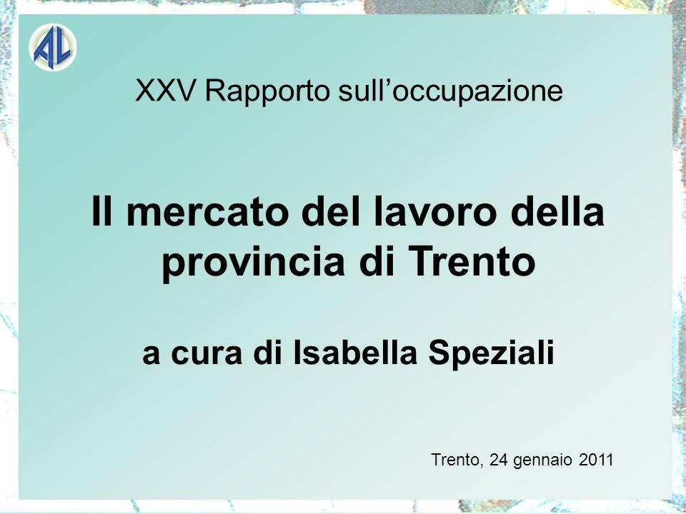 XXV Rapporto sulloccupazione Il mercato del lavoro della provincia di Trento a cura di Isabella Speziali Trento, 24 gennaio 2011