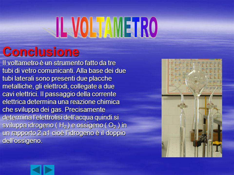 Conclusione Il voltametro è un strumento fatto da tre tubi di vetro comunicanti.