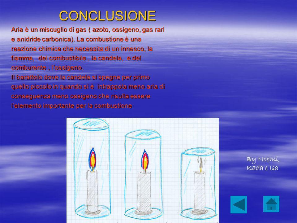 CONCLUSIONE Aria è un miscuglio di gas ( azoto, ossigeno, gas rari e anidride carbonica).