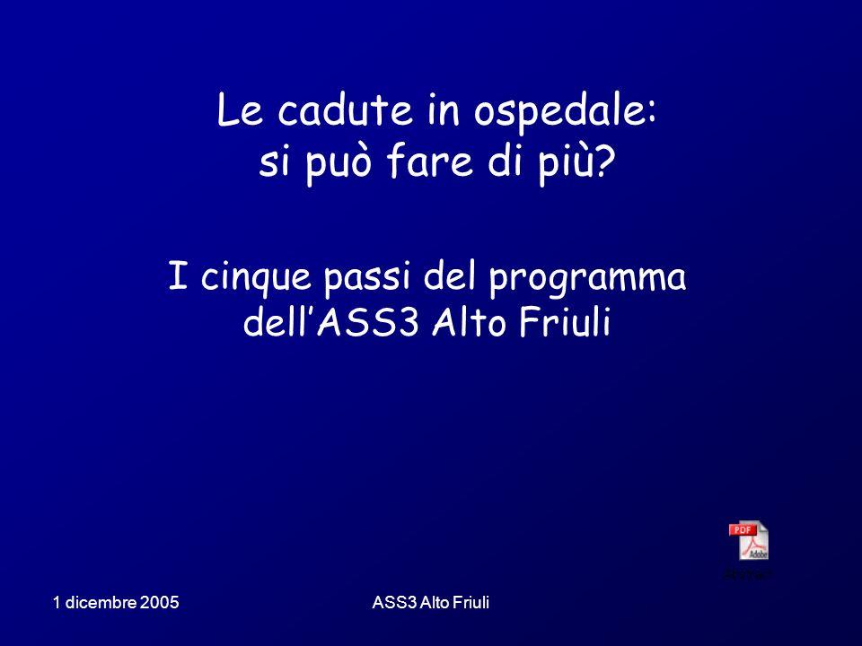 1 dicembre 2005ASS3 Alto Friuli Le cadute in ospedale: si può fare di più? I cinque passi del programma dellASS3 Alto Friuli