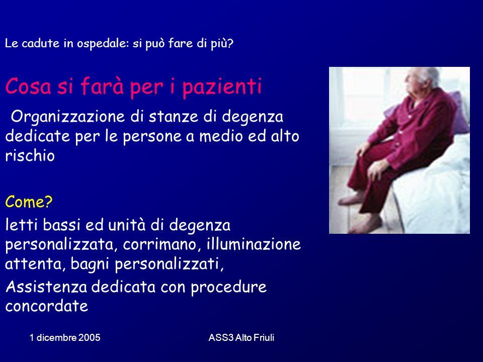 1 dicembre 2005ASS3 Alto Friuli Le cadute in ospedale: si può fare di più? Cosa si farà per i pazienti Organizzazione di stanze di degenza dedicate pe