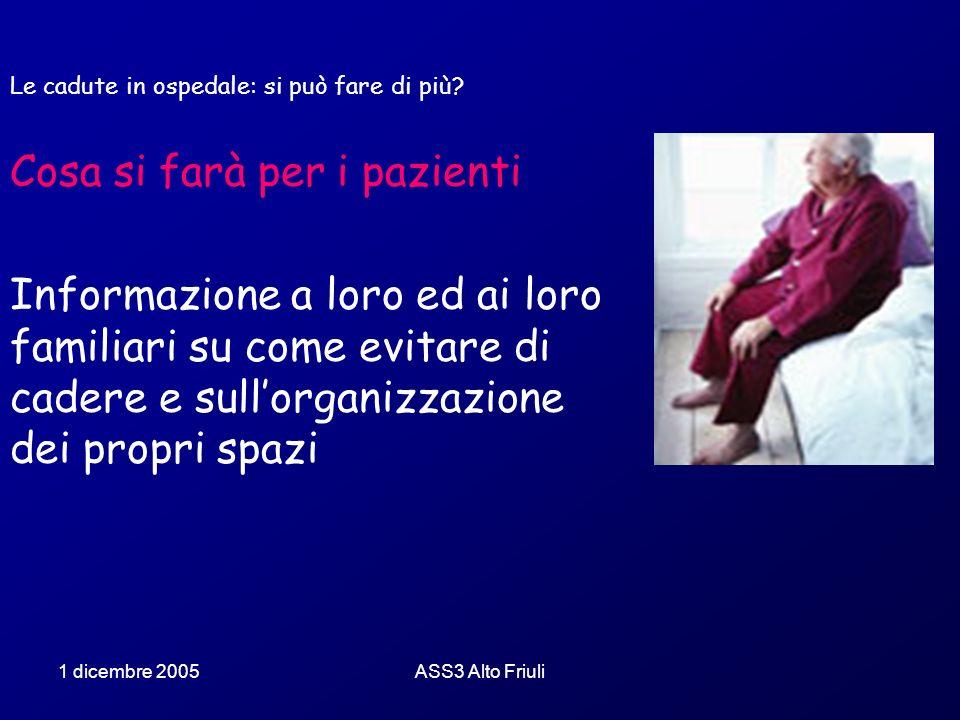 1 dicembre 2005ASS3 Alto Friuli Le cadute in ospedale: si può fare di più? Cosa si farà per i pazienti Informazione a loro ed ai loro familiari su com