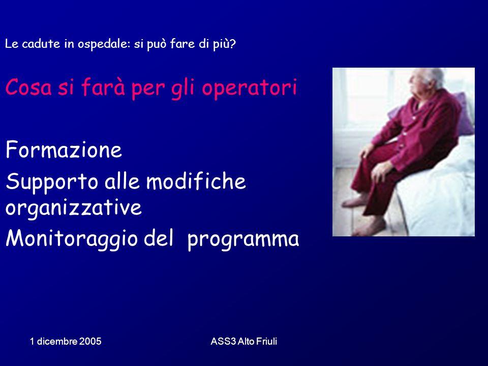 1 dicembre 2005ASS3 Alto Friuli Le cadute in ospedale: si può fare di più? Cosa si farà per gli operatori Formazione Supporto alle modifiche organizza