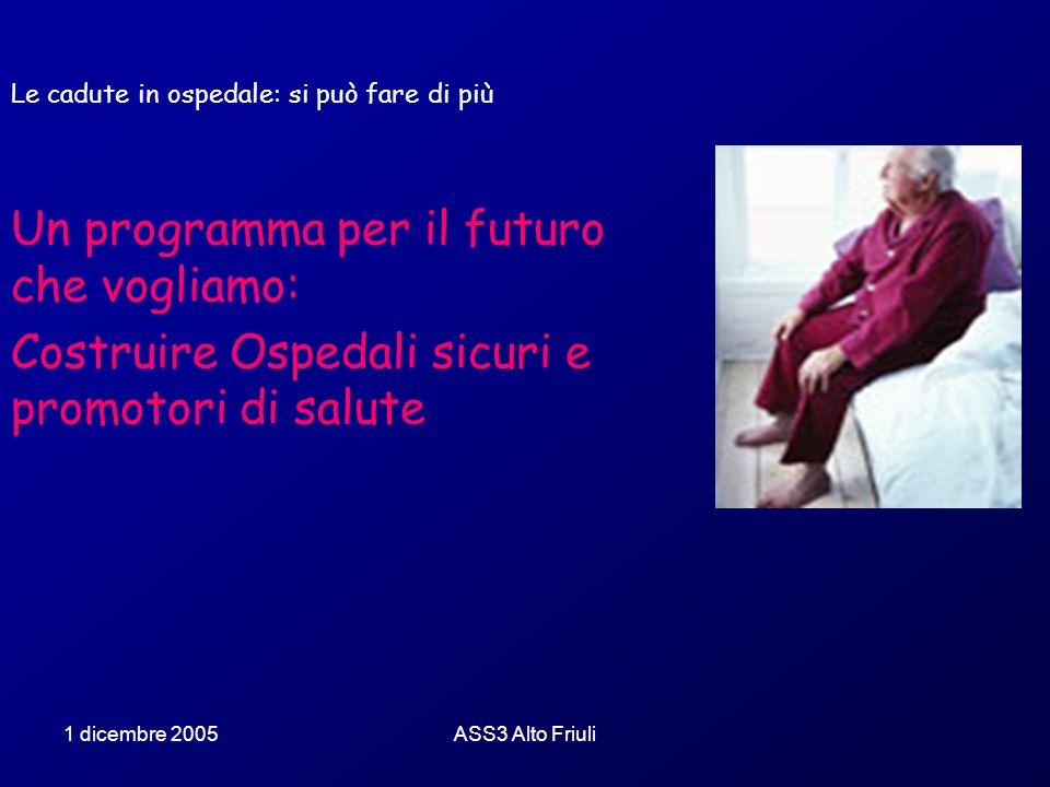 1 dicembre 2005ASS3 Alto Friuli Le cadute in ospedale: si può fare di più Un programma per il futuro che vogliamo: Costruire Ospedali sicuri e promoto